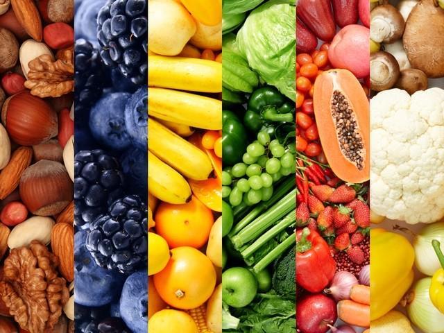 barevné zeleniny a ovoce - Puzzle zobrazující ovoce a zeleninu seskupené v barvách (4×4)