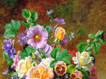 painting - painting, floral composition