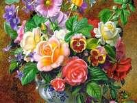 festmény - festmény, virágkompozíció