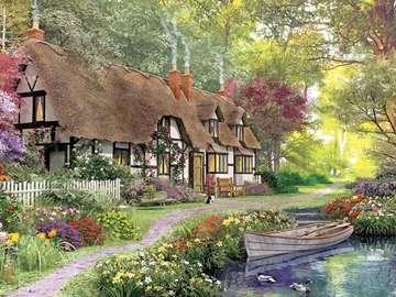 wiejski dom - wiejski dom z ogrodem , rzeka , łódka , drzewa