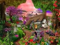 Ferienhaus in einem schönen Garten.