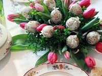 Kleurrijke tulpen - Pasen-boeket van tulpen