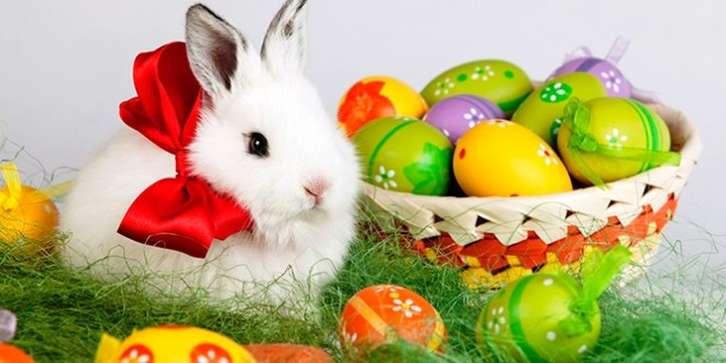 Великденска кошница - Великденска кошница, великденски яйца, великденско зайче (12×6)
