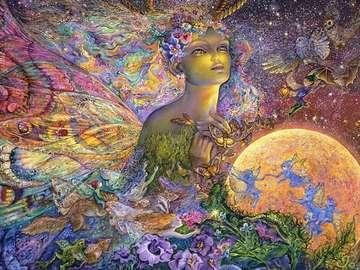 Titania. Josephine Wall. - Schilderij door Josephine Wall.