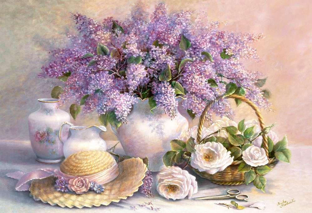 Lila csokor - Festett lila csokor vázában, fehér rózsákkal (11×9)