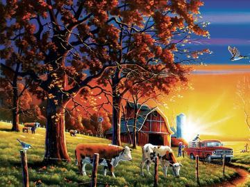 Zachód słońca na farmie. - Zachód słońca na farmie.