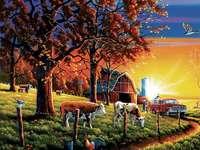 Západ slunce na farmě.