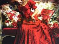 Kobieta w czerwonej sukni. - Malarstwo. Kobieta w czerwonej sukni.
