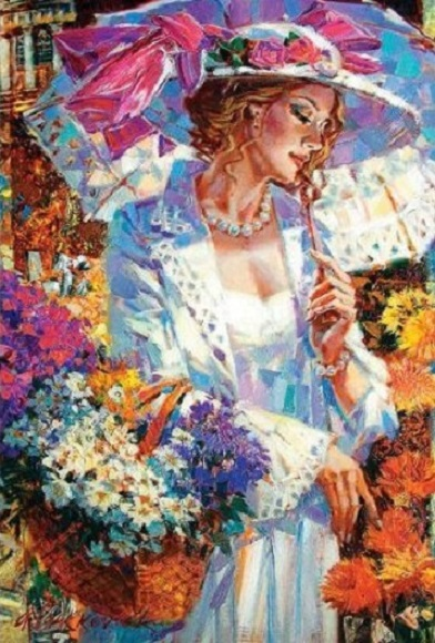 Egy nő, egy esernyő - Festés. Egy nő, egy esernyő (7×9)