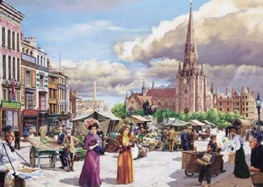 Στην αγορά της πόλης - Τοπίο. Στην αγορά της πόλης (11×9)