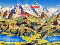 Kaart van de Alpen. - Landschap. Alpine bergkaart.