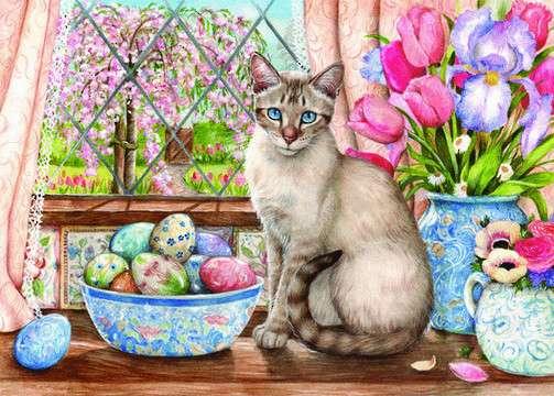 Wielkanocny obrazek - Wielkanocny obrazek z kotem (10×8)