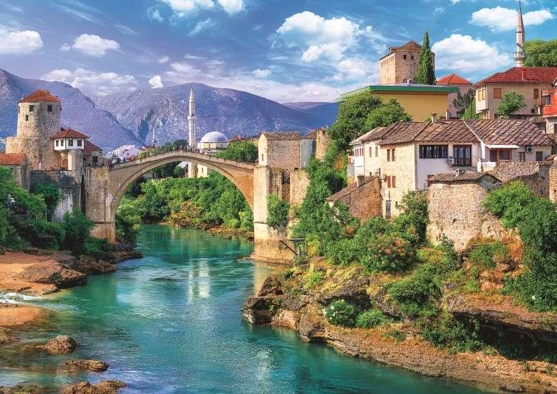 Παλιά γέφυρα - Παλιά γέφυρα, ποτάμι, Μόσταρ, τοπίο (11×8)