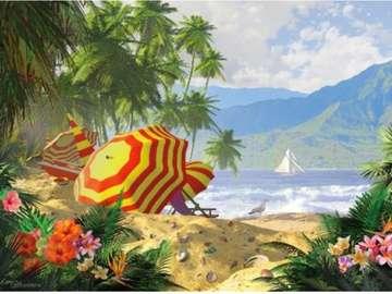 letni krajobraz - letni krajobraz , plaża , parasole , woda, palmy