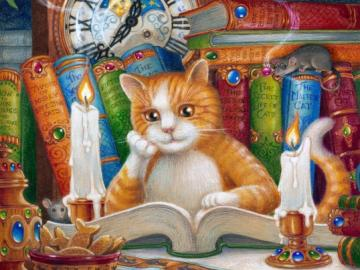 Czytający kotek. - Dla dzieci. Czytający kotek.