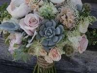 Gyönyörű csokor, fehér rózsákkal - Gyönyörű csokor virág, esküvői csokor, fehér rózsa