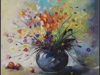 Vase mit Blumen.
