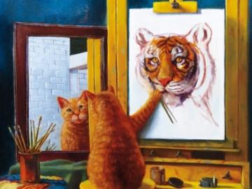 zelfportret - Zelfportret, schilder cat