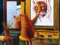 self-portrait - Self-portrait, cat painter