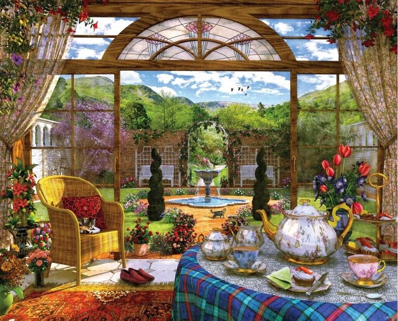 Otthoni visszavonulás - Otthoni adatvédelem, kilátás a kertre, a teázási idő (11×8)