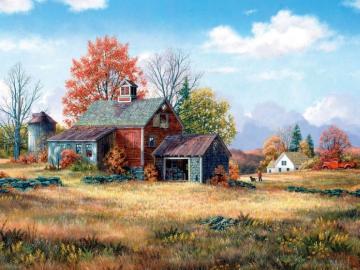 wiejski krajobraz - wiejski krajobraz , spacer z psem