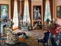 Rum med målningar.