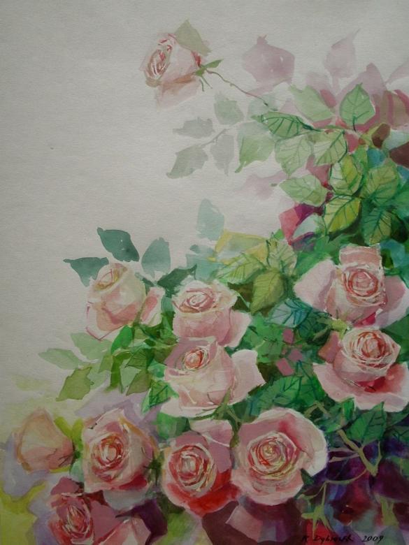 akvarell rózsa, virág puzzle - Akvarell rózsák - fehér rózsák. Akvarell rózsa csokor, virágos puzzle, fehér rózsa. Gyönyörű akvarell művész Koszalinból, fehér rózsákkal (13×11)