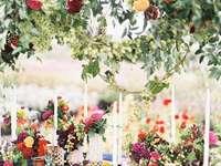 Vadvirágok dekorációként - Esküvői asztaldísz, mező virágok