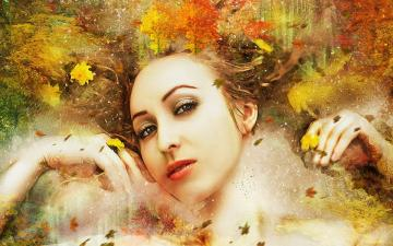 Lady Autumn, Autumn leaves - Autumn - one of the four basic seasons in nature, in the temperate climate zone. It is characterized