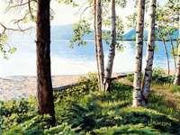 Ráno u jezera - Ráno u jezera, malba