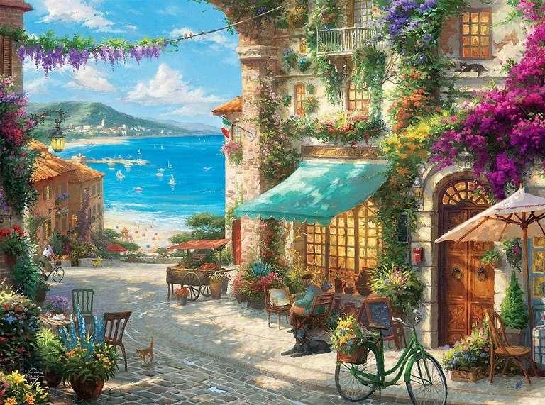 Cidade italiana - Uma cidade italiana à beira-mar (10×10)