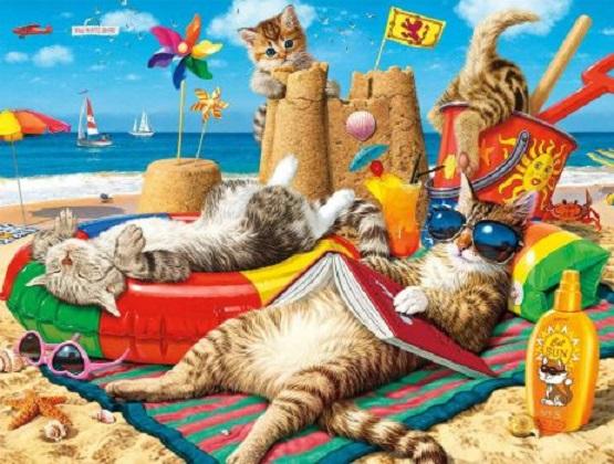 De zon brandt op het strand - Katten op het strand. Puzzel voor kinderen: katten op het strand. Een groep knuffels (10×10)