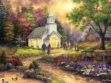 Devant l'église - Bâtiment. Devant l'église