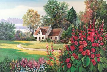 cottage house - rural house, trees, flowers, in the background mountains, landscape