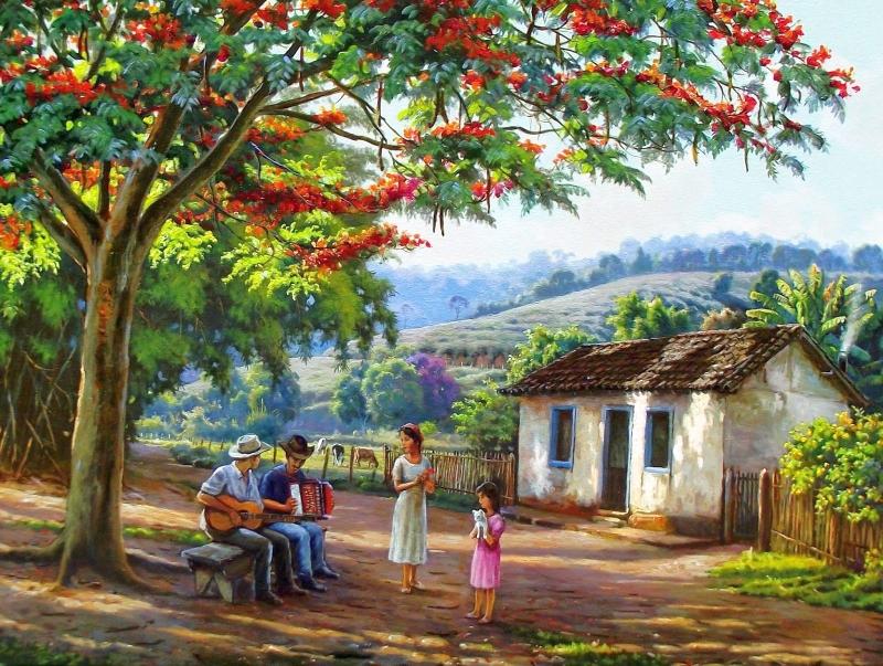 Στιγμές χαλάρωσης - Στιγμές χαλάρωσης, κάνοντας μουσική κάτω από το δέντρο, πάγκο (11×8)