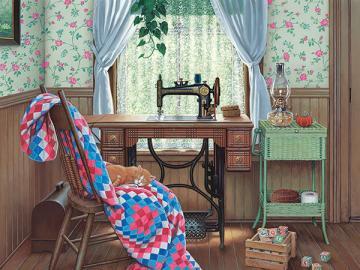 Sewing workshop. - Interior. Sewing workshop.