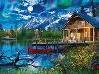 Lacul de munte. - Lacul de munte la lumina lunii.