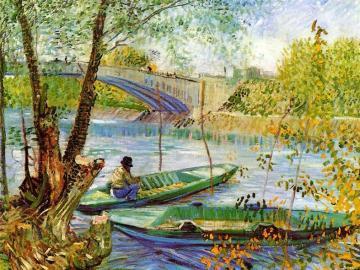 Painting - spring, fishing, painting, Van Gogh