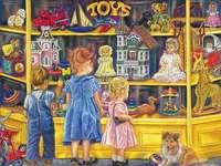 Пред магазин за играчки.