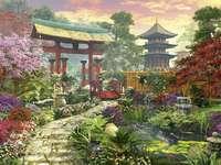 Egy gyönyörű japán kertben.