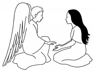 Zwiastowanie Maryi - Czarno-biały obraz przedstawiający Zwiastowanie Najświętszej Maryi Pannie