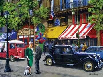 Auf der Pariser Straße - Piekna, ein Puzzlespiel. - Stadtlandschaft. Paris. Ein wunderbares Puzzlespiel.