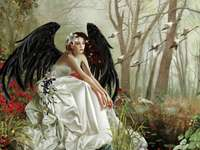 Black angel in a white dress. - Painting. The black Angel.