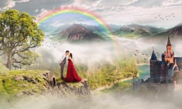 Lovers and rainbow - Rainbow - an optical and meteorological phenomenon, occurring in the form of a characteristic multic