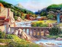 замък, пейзаж - замък, пейзаж, мост, река, планини