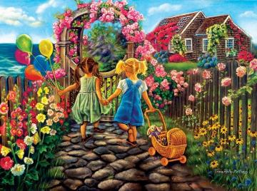 In the garden by the sea. - In the garden by the sea. Colorful puzzle for children. Colorful puzzle.
