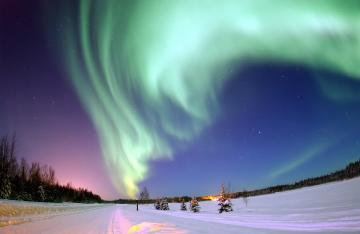 Aurora borealis - On Earth, auroras appear on high latitudes, mainly behind Arctic circles, although in favorable cond