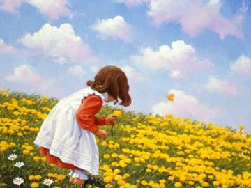 Little girl on the meadow. - Little girl on a yellow meadow.