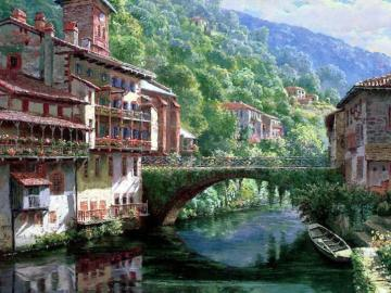 Houses by the river - Houses by the river, bridge. Mountain landscape
