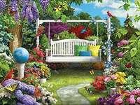 Μια κούνια στον κήπο. - Huśtawka w ogrodzie